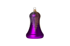 Violet handbell decoration for a new-year tree Royalty Free Stock Photo