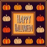 Violet Happy Halloween fyrkantram med färgrika pumpor Royaltyfri Foto