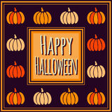 Violet Happy Halloween square frame with colorful pumpkins Royalty Free Stock Photo