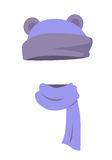 Violet Hat with Ears and Long Silk Scarf. Vector Stock Photography