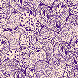 Violet heart drawing seamless pattern Royalty Free Stock Images