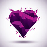 Violet heart geometric icon made in 3d modern style, best for us Royalty Free Stock Images