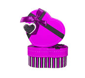 Violet  Heart shaped box Royalty Free Stock Image