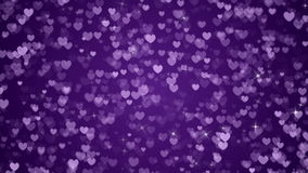 Violet Hearts and Sparkles Background Loop stock footage