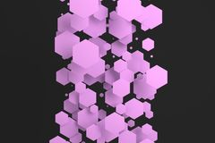 Violet hexagons of random size on black background. Abstract background with hexagons. Cloud of hexagons in front of wall. 3D rendering illustration Stock Photography