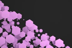 Violet hexagons of random size on black background. Abstract background with hexagons. Cloud of hexagons in front of wall. 3D rendering illustration Stock Photos