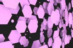 Violet hexagons of random size on black background. Abstract background with hexagons. Cloud of hexagons in front of wall. 3D rendering illustration Royalty Free Stock Photography
