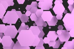 Violet hexagons of random size on black background. Abstract background with hexagons. Cloud of hexagons in front of wall. 3D rendering illustration Stock Photo