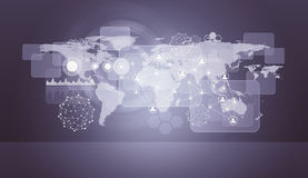 Violet holographic screen with world map Stock Photo