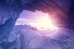 Violet, ice cave in Antarctica Stock Image