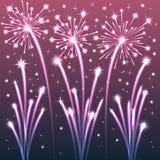 Violet Illuminated Fireworks. Royaltyfria Foton