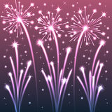 Violet Illuminated Fireworks. Vector Illustration Royalty Free Stock Photos