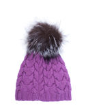 Violet knitted woolen hat with pompom isolated on white background. Royalty Free Stock Images