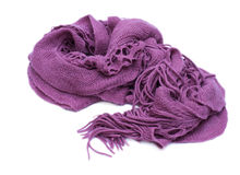 Violet knitted woolen scarf isolated on white background. Royalty Free Stock Photos