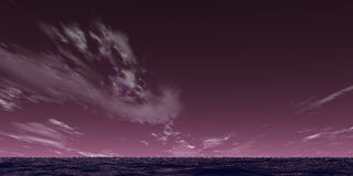Violet landscape. Violet sky and ocean stock photo