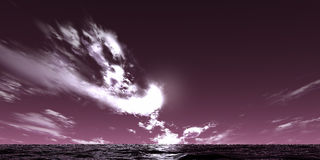 Violet landscape. Violet sky and sea stock images