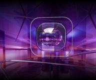 Violet lens. Lens and metal lines in a violet abstract enviroment Stock Photos