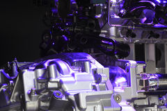 Violet light irradiation car engine of close-up Royalty Free Stock Images