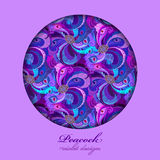 Violet, lilac and blue peacock feathers. Circle design. Text place. Stock Image