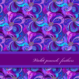 Violet, lilac and blue peacock feathers pattern. Horizontal strip design. Royalty Free Stock Images