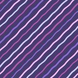 Violet, lilac diagonal wavy stripes, waves seamless еучегку. Dark violet, lilac, lavender, pink diagonal wavy stripes, waves seamless repeat modern Stock Illustration