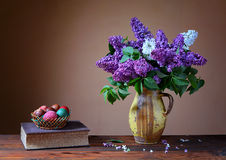 Violet lilac and  Easter eggs Royalty Free Stock Image