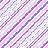 Violet, lilac wavy diagonal stripes, waves seamless pattern. Violet, lilac, lavender, pink diagonal wavy stripes of different width, waves seamless repeat modern Vector Illustration