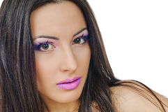 Violet lips and eyelids Stock Photography