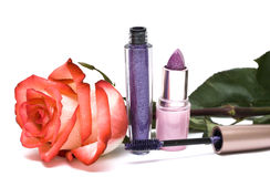 Violet lipstick and mascara Royalty Free Stock Photo