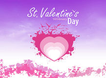 Violet love. Heart with birds and violet background Royalty Free Stock Images