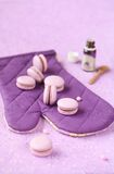 Violet Macarons with Blueberry Cream Filling Royalty Free Stock Photo