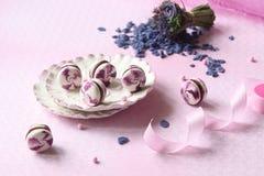 Violet Macarons met Chocoladebosbes Fillinge Yule Log Stock Afbeelding