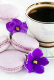 Violet macaroon with violet flowers Royalty Free Stock Photography