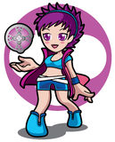 Violet magic game girl Stock Images