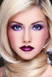 Violet makeup Stock Photography