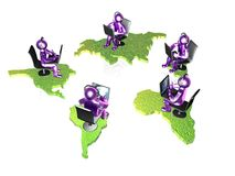 Violet mans with laptops Stock Photos