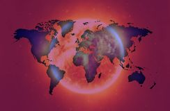 Violet Map of the world over bright planet.