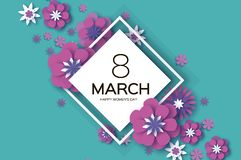Violet 8 March. Happy Women s Day. Trendy Mother s Day. Paper cut Floral Greeting card. Origami flower. Text. Rhombus. Frame. Spring blossom on sky blue Stock Images