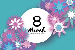 Violet 8 March. Happy Women`s Day. Trendy Mother`s Day.. Paper cut Floral Greeting card. Origami flower. Text. Circle frame. Spring blossom on sky blue Stock Image