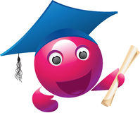 Violet_mascot. Violet school mascot and diploma Royalty Free Stock Photo