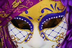 Violet mask, Venice, Italy, Europe Stock Photo
