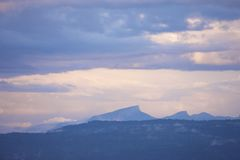 Violet mountains Stock Image
