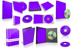 Violet multimedia disks and boxes on white Stock Image