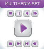 Violet multimedia set. Vector buttons Stock Images