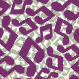 Violet musical notes seamless pattern, geometric contemporary st Royalty Free Stock Image