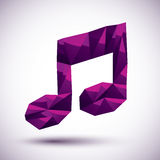 Violet muzieknoot geometrisch die pictogram in 3d moderne beste stijl wordt gemaakt, Stock Foto