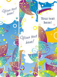 Violet nature banners. Set of three colored bright abstract banners with green, violet and blue gradient nature eco elements and white cloud on the blue gradient Stock Photography