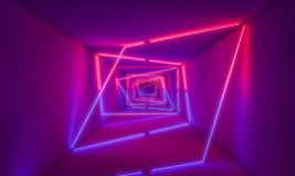 Violet neon light in tunnel stock images