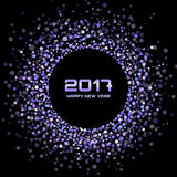 Violet New Year 2017 glowing circle frame on black Background. Stock Images