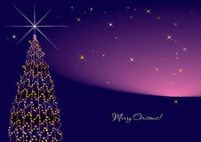 Violet new year tree horizontal. Stock Photography